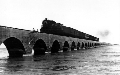 FEC Over Sea Railroad Viaduct Train cropped top Grayscale 96