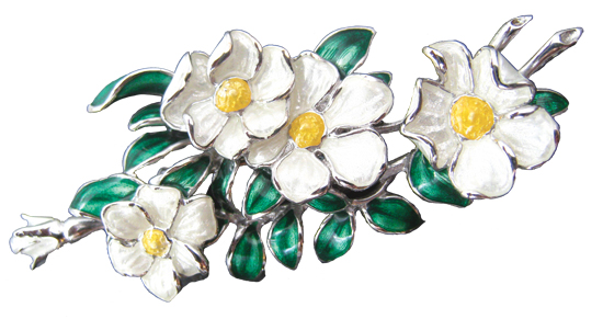 Cherokee Roses Sterling Silver Pin